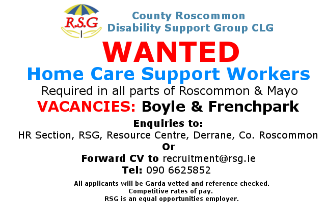 Wanted Home Care Support Workers County Roscommon